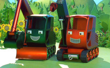 "He's Gripper and that's Grabber in ""Bob the Builder: Race to the Finish"" from HIT Entertainment"